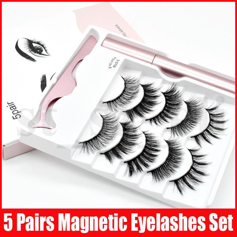 Magnetic Liquid Eyeliner Magnetic False Eyelashes & Tweezer Set 5 Magnet False Eyelashes Set Glue Make Up Tools 5 Pairs eyelash set