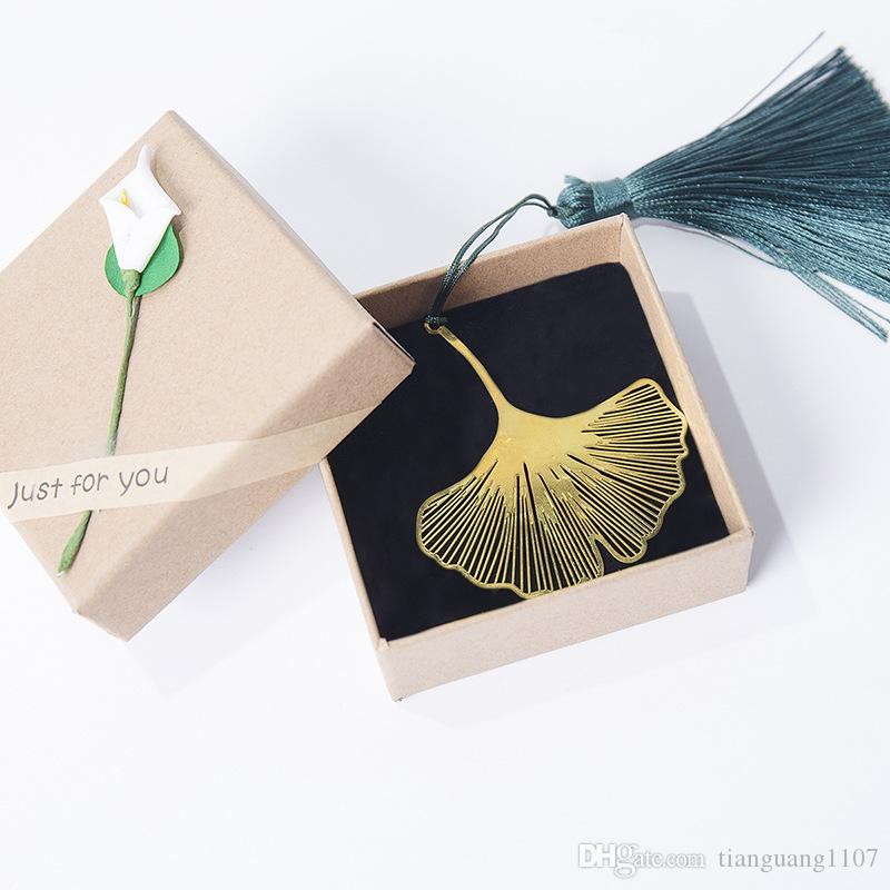 Chinese style gift leaves ginkgo leaves creative bookmarks bookmark brass vein bookmarks tassels ginkgo classical beauty beauty