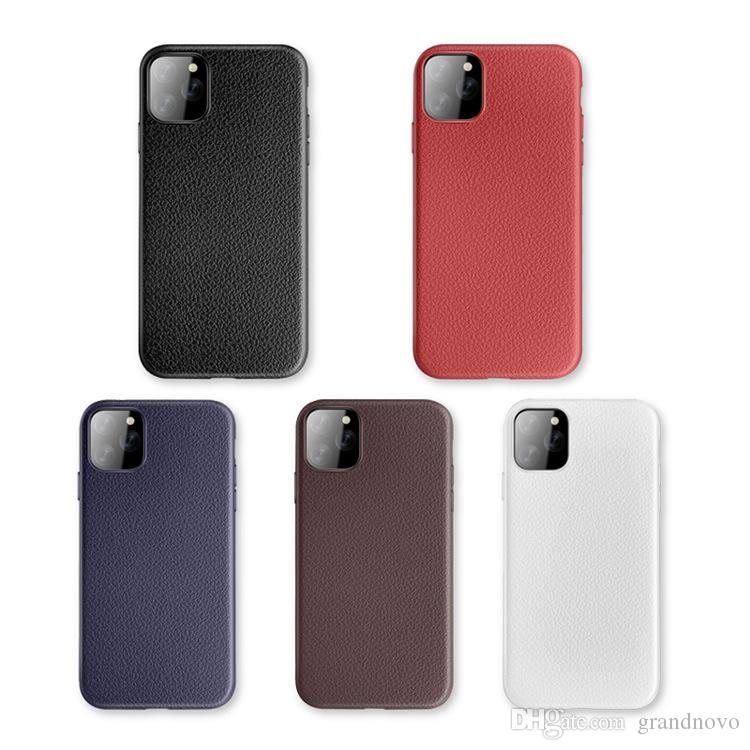 Litchi Leather ShocktoProof Soft TPU Silicone Gummi Cover Case för iPhone 11 Pro Max XS XR X 8 7 6 6S plus Samsung Galaxy S10 E S9 S8 Not 9