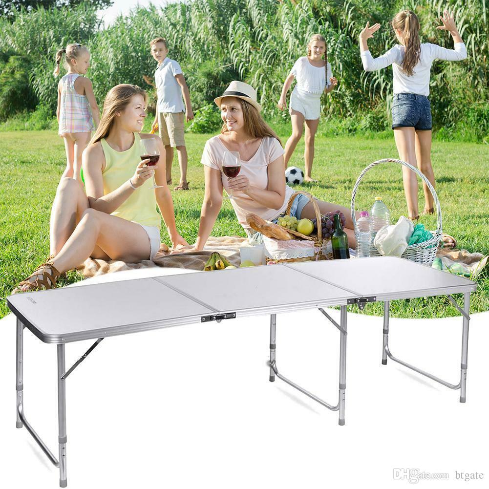 180 x 60 x 70 cm Casa uso lega di alluminio pieghevole tavolo bianco 3 Sezioni pieghevole Lavorazioni portatili per il picnic di campeggio libero di trasporto