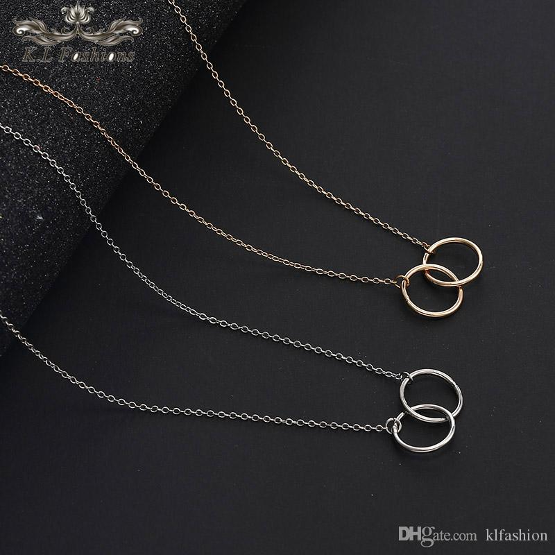 New High Quality Double Circle Pendant Clavicle Necklace for Women Fashion Designer Gold Silver Chain Necklaces Valentine's Day Gift 2019