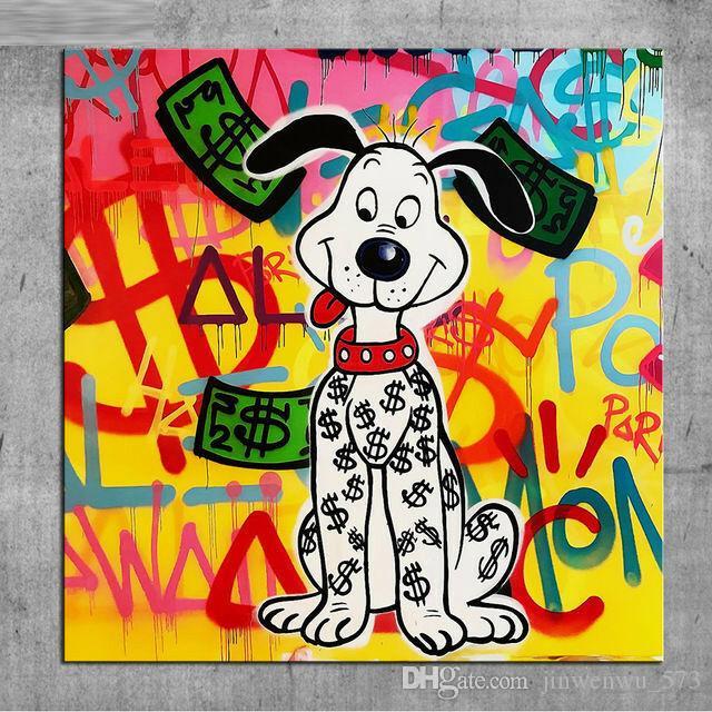 "Alec Monopoly Graffiti Handcraft Ölgemälde auf Leinwand, ""Cute dog"" Wohnkultur Wandkunst Malerei, 24 * 24 Zoll nicht gedehnt"