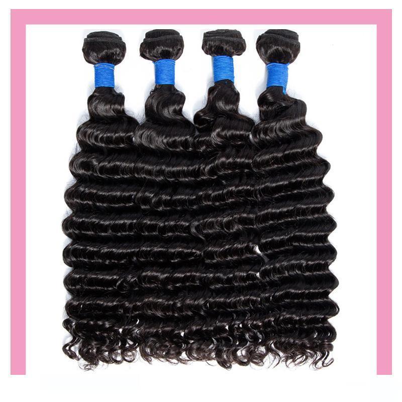 Pérou Virgin Extensions de cheveux humains 8-28inch 3 Bundles vague profonde 4 Pièces Uniques Set Produits Cheveux Trames Extensions de cheveux bouclés