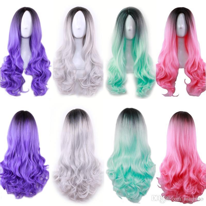 Sintéticas Multicolor Mujeres de onda larga teñido púrpura rosado peluca de las señoras Negro degradado gris a prueba de calor de Cosplay Pelucas Caps Ombre Color de Cabello ondulado