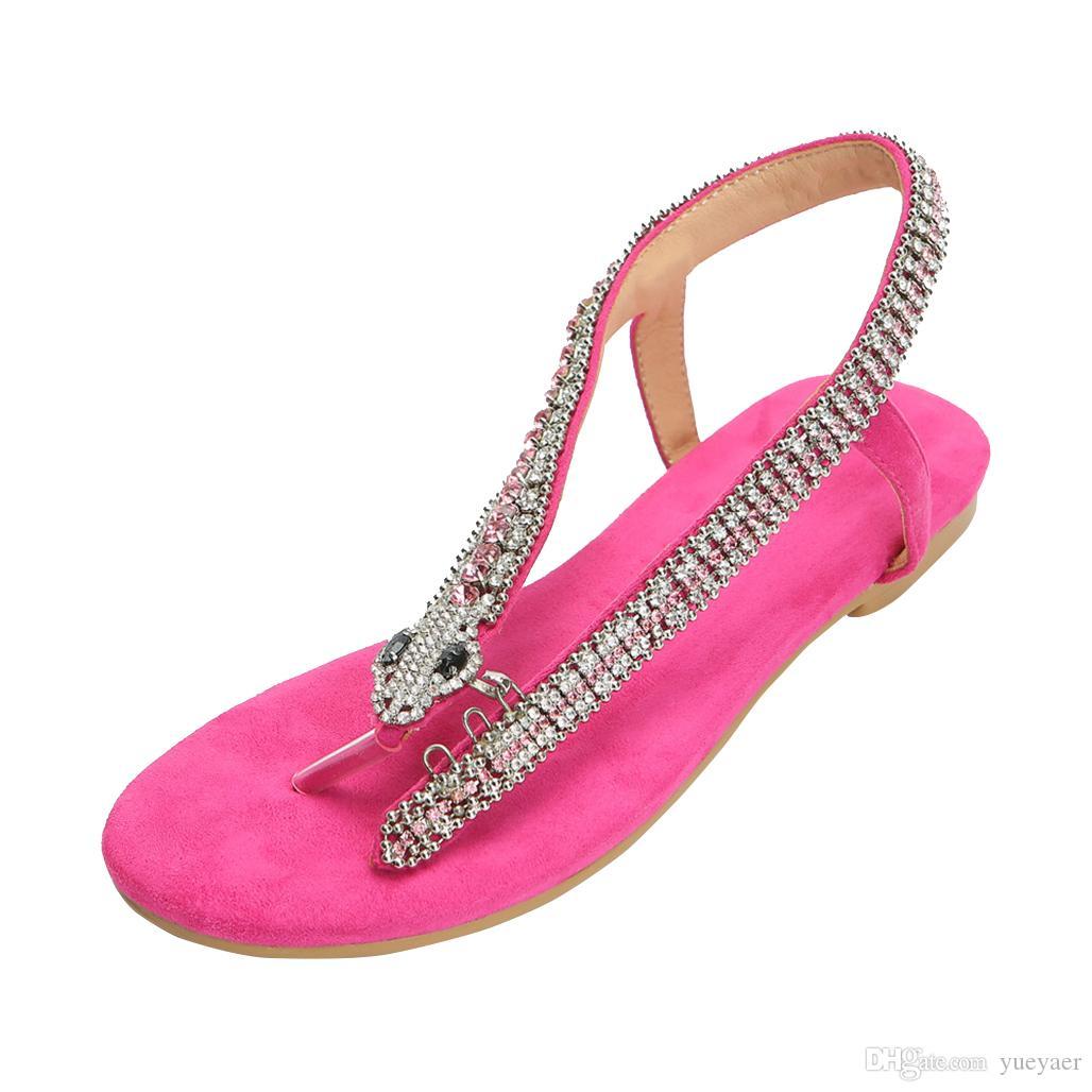 Kolnoo Handmade Ladies Flats Sandálias Cristais-Cobras Deco Verão Sapatos Casuais Moda Sandálias Flat de Volta às Aulas Sapatos 004N
