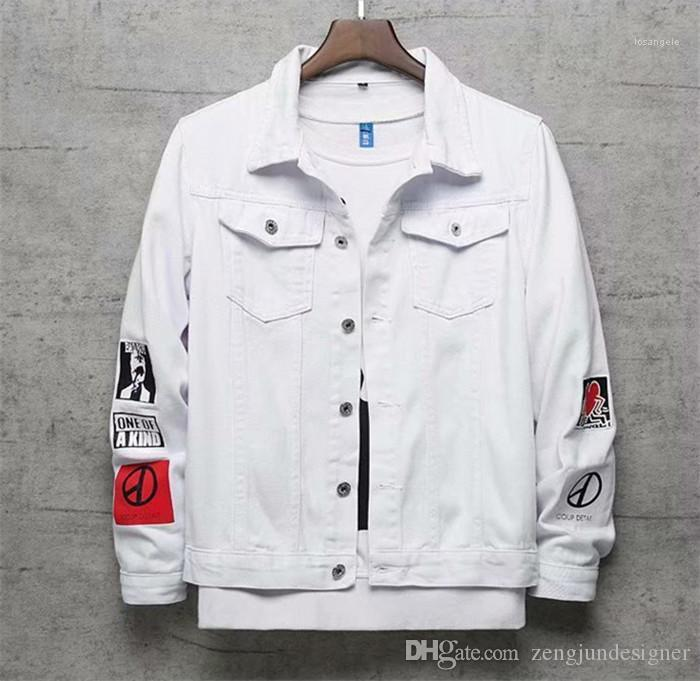 Bianco Jeans Giacche Risvolto Collo Homme Abbigliamento Hip Hop Fashion Style Abbigliamento Casual Mens Autunno Designer