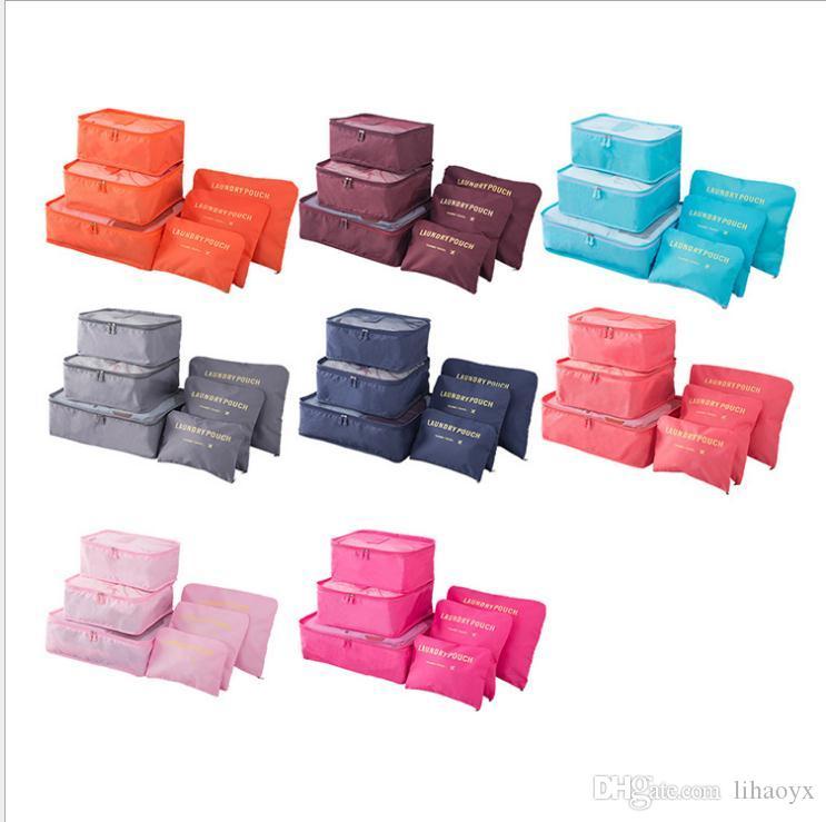6 teile / satz Reise Organizer Aufbewahrungstaschen Tragbare Gepäck Organizer Kleidung Aufräder Tidy Pouch Koffer Verpackung Wäschesack Aufbewahrungskoffer D132