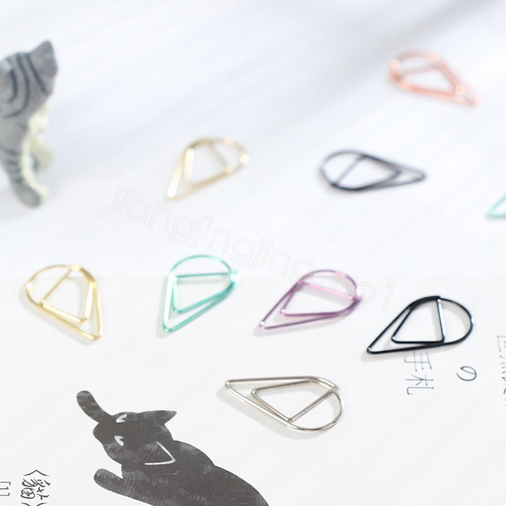 Drop Shape Paper Clips Metal Material Gold Silver Color Funny Kawaii Bookmark Office Shool Stationery Marking Clips 10pcs/lot FFA3145