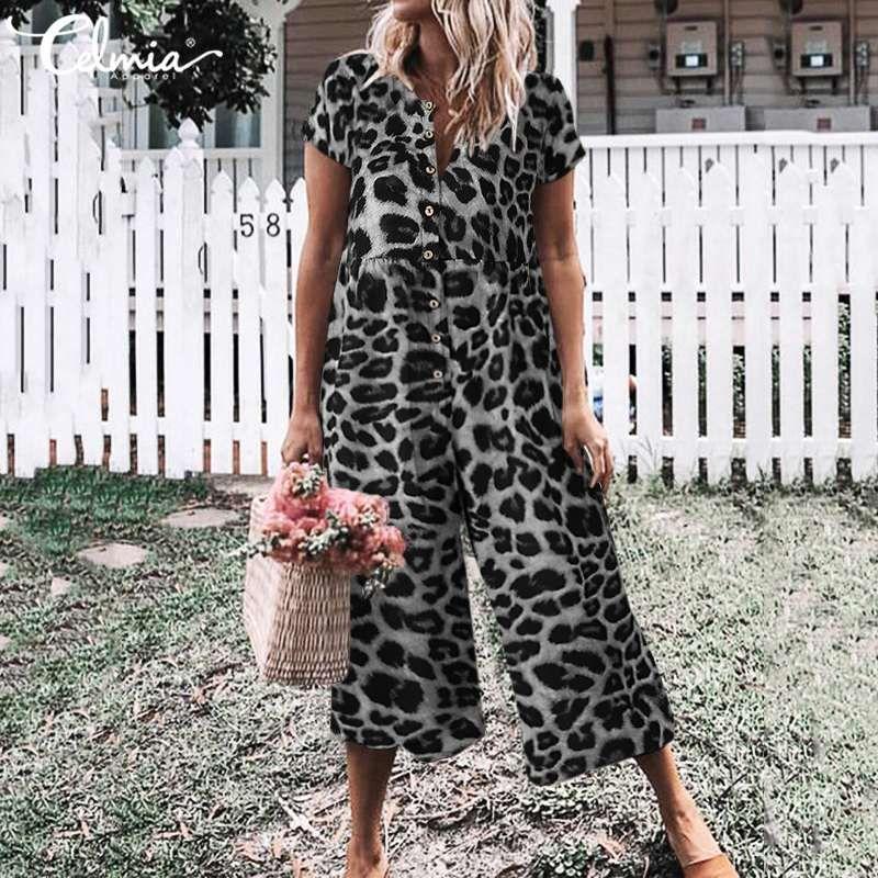 Summer Jumpsuits For Women Celmia Vintage Rompers Leopard Print Buttons Casual Playsuit Short Sleeve Wide Leg Overalls Plus Size