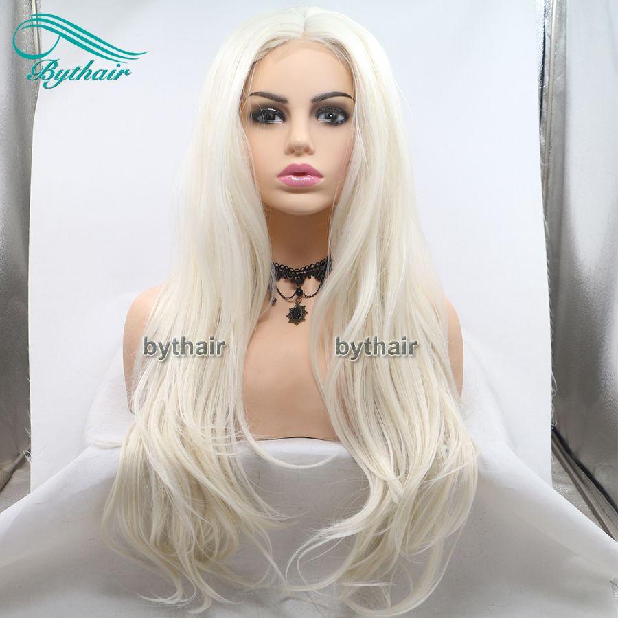 Synthetische Spitze Front Perücke Natürliche Weichen Wellenförmige Haar Licht Blondine Hitzebeständige Faser Cosplay Perücke Lange Asche Blonde Perücken Für weiße Frauen Bythair