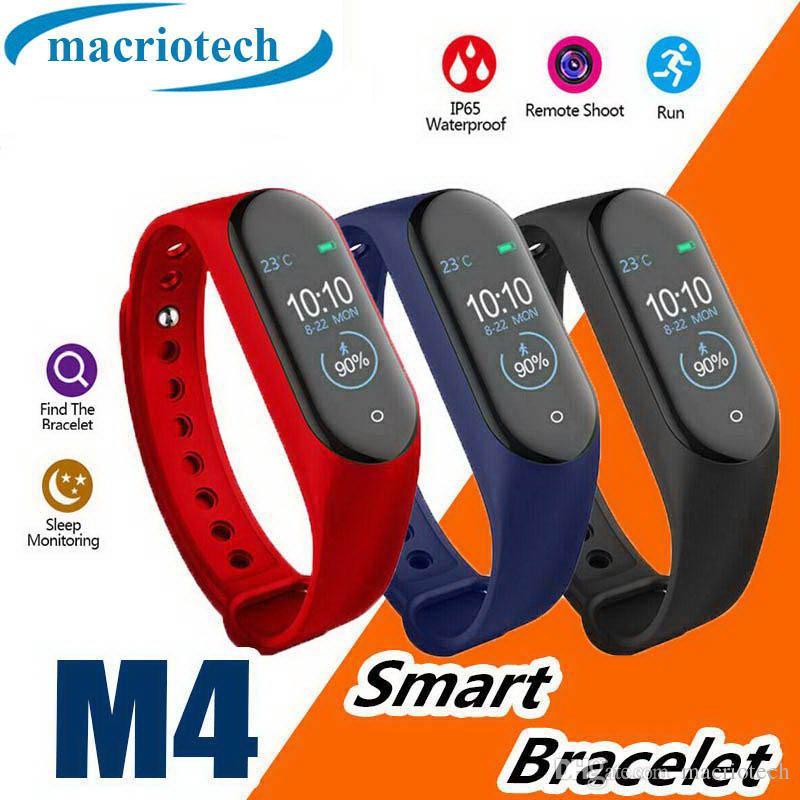 Pulsera inteligente M4 Rastreador de ejercicios a prueba de agua Monitor de presión arterial para hombres y mujeres Monitor de presión arterial Reloj deportivo de moda Podómetro