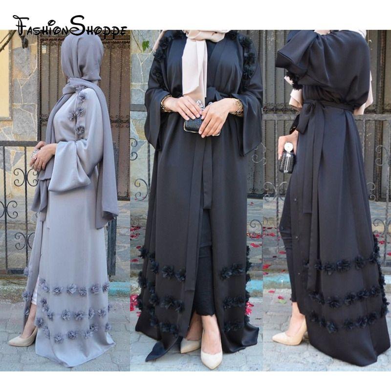 Elegante musulmanes adultos Abaya árabe turco Singapur chaqueta de punto apliques Jilbab Dubai musulmanes vestidos de las mujeres islámicas vestido # D504