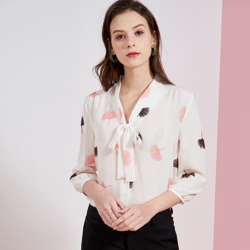 100% puro camisas de seda mujeres atan para arriba Collar 3/4 mangas impresos elegante blusa ocasional Camisas Tops