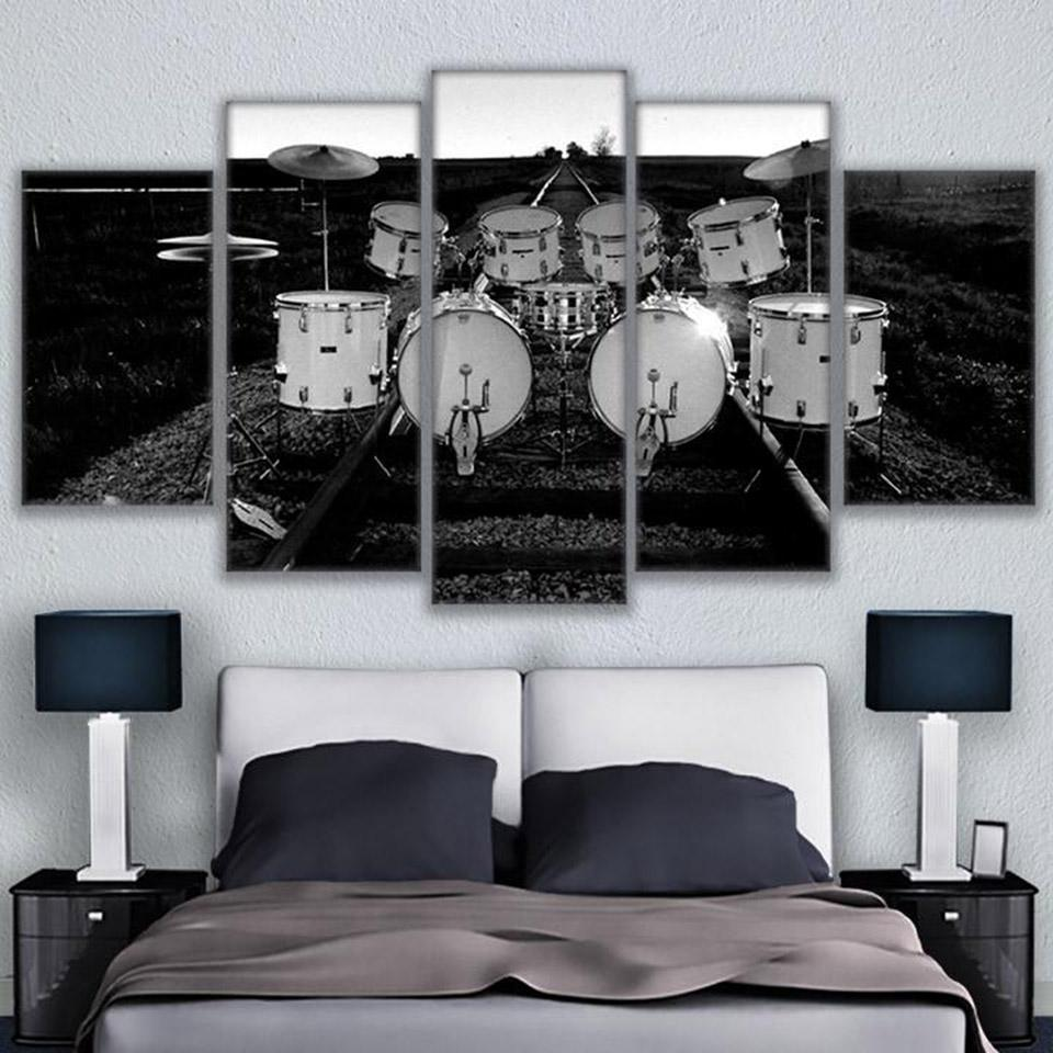 HD Printed Paintings Modular Home Decoration 5 Panels Musical Instrument Drum Posters Tableau Wall Art Modern Pictures Canvas