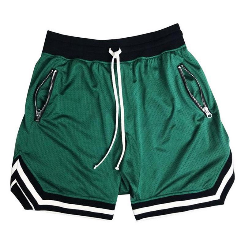 Uomini pantaloncini estivi di fitness palestre bodybuilding jogging maschio allenamento traspirante sciolto maglia pantaloni di scarsità uomo casual pantaloni della tuta da spiaggia