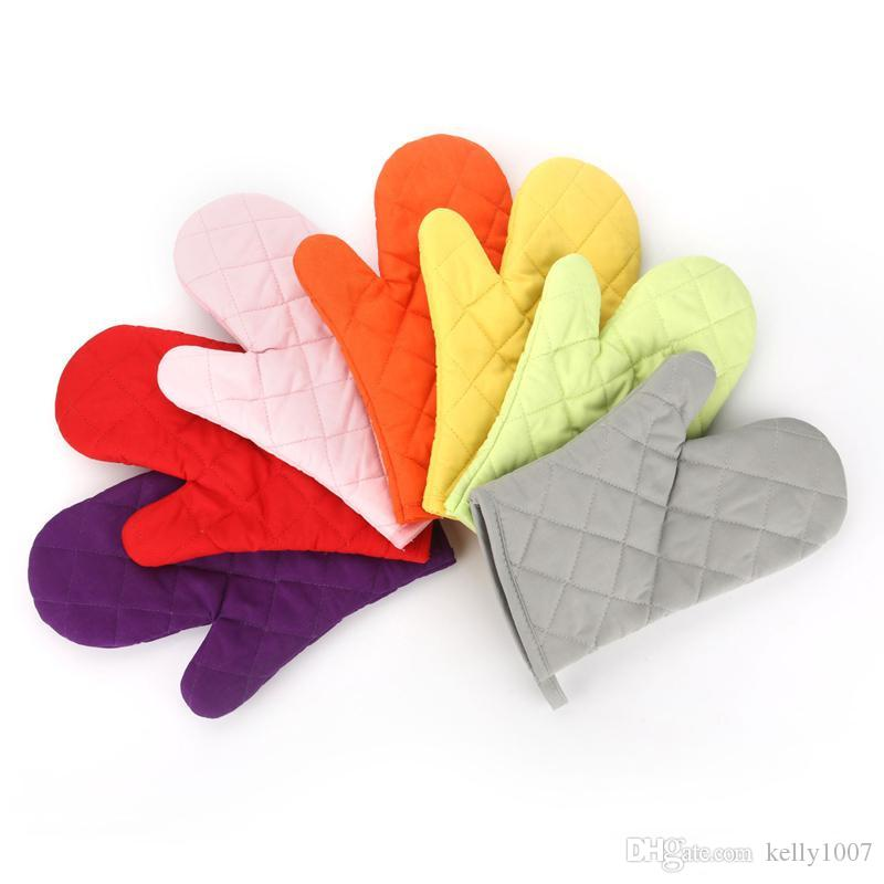 8 Color High temperature gloves Thick Double Kitchen Baking Cook barbecue Insulated Padded Oven Gloves Mitt heat resistant B