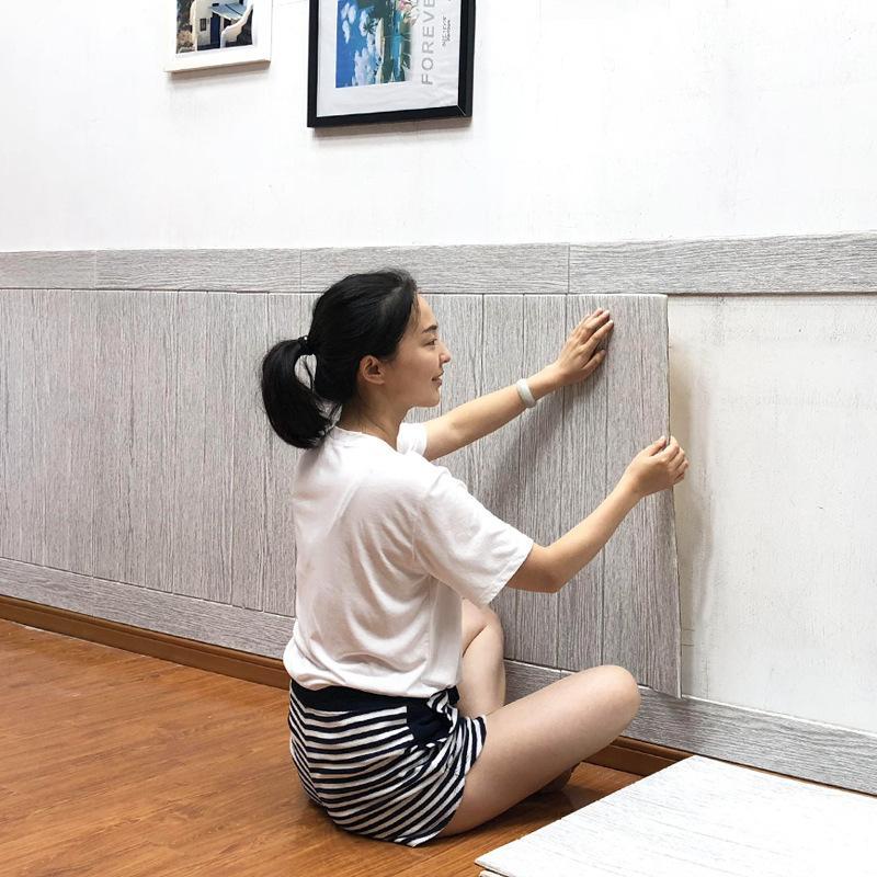 3D Ağaç Damarı Duvar Etiketler Ev Dekorasyon Aksesuarları Odası Dekor Tek Parça Çarpışma önleyici su geçirmez duvar kağıdı 70 * 70cm