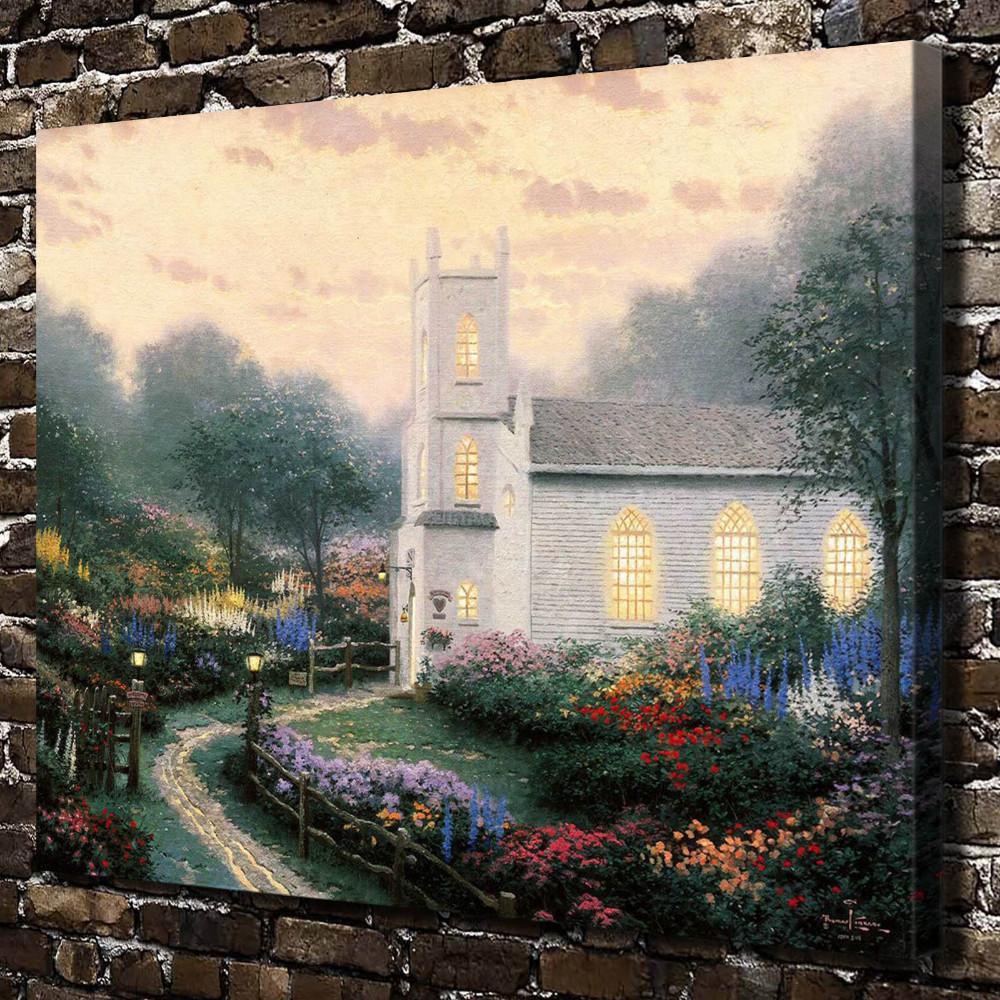 (Thomas Kinkade) Blossom Hill Church,1 Pieces Home Decor HD Printed Modern Art Painting on Canvas (Unframed/Framed)