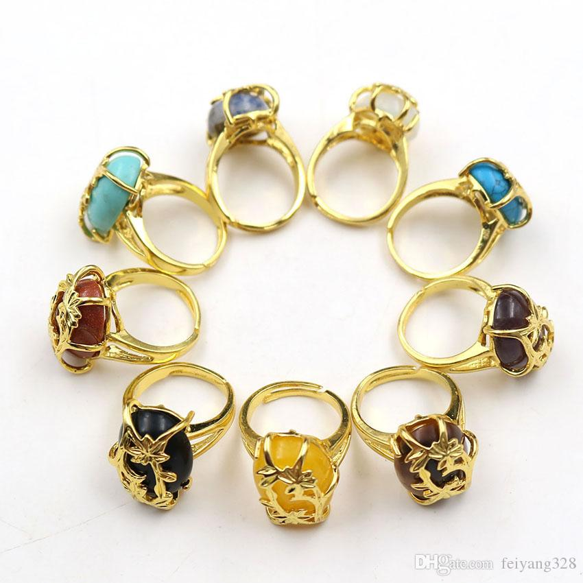 Wholesale 10 Pcs Gold Plated Rose Flower Wrap Oval Shape Many Color Quartz Stone Resizable Finger Ring Fashion Jewelry