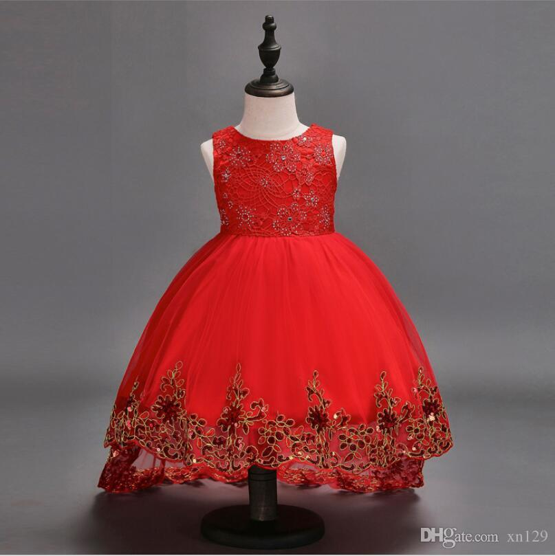 Hochzeitsblumenmädchen-Prinzessinkleid der Kinder rotes ärmelloses Prinzessinendstückkleid-Rockwirtkleid des großen Jungen