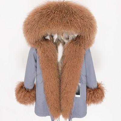 Kälteschutz braun Schafspelz Mongolei trimmen Placket MAOMAOKONG Marke braun weißes Kaninchen Pelzfutter grau lange Frauen Parkas