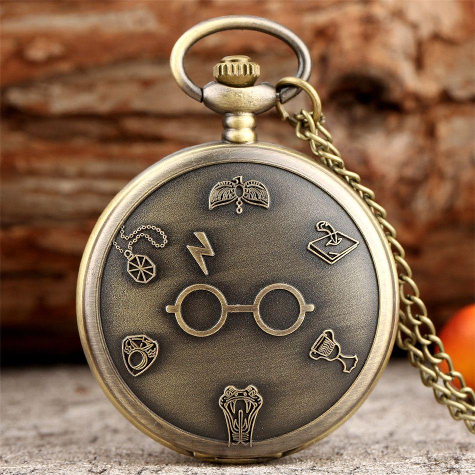 Classic Magic School Theme Quartz Pocket Watches Retro Necklace Watches Fob Sweater Chain Pendant Watch Gifts Kids Men Women