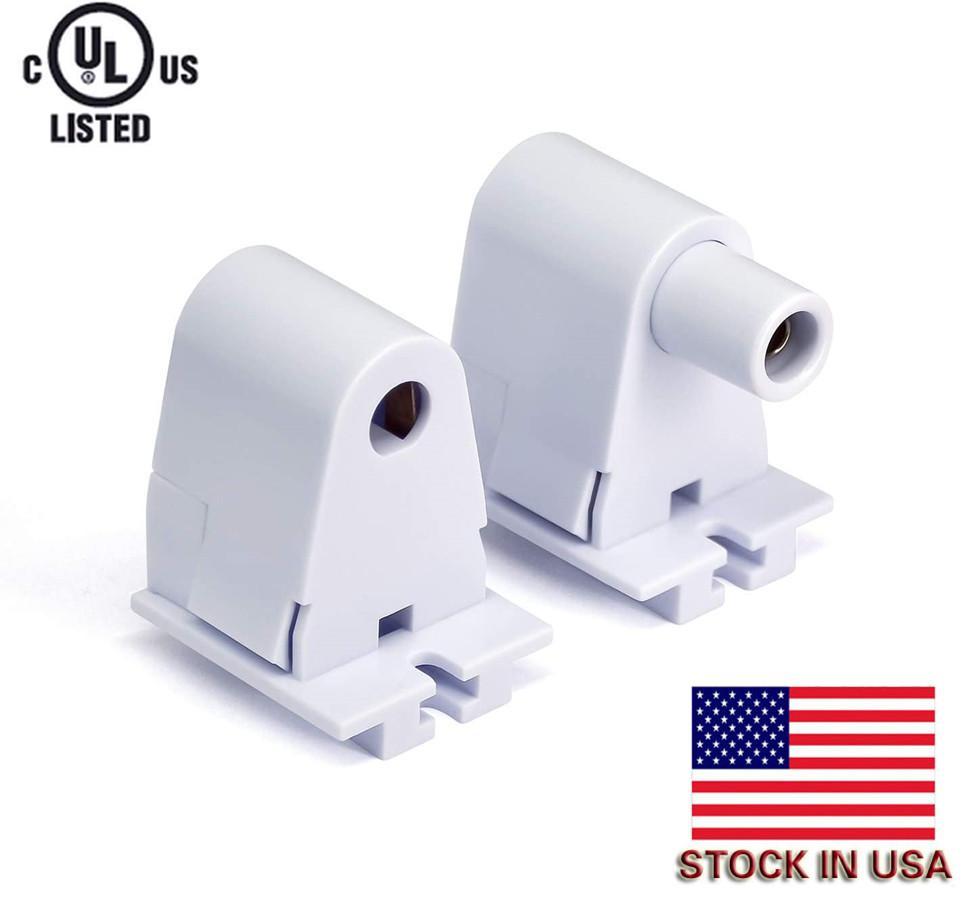 Stock en EE. UU. + 48 pares Conector de zócalo de soporte de la base de lápidas con T8 Pin simple FA8 8FT LED Bombilla de reemplazo de la bombilla fluorescente