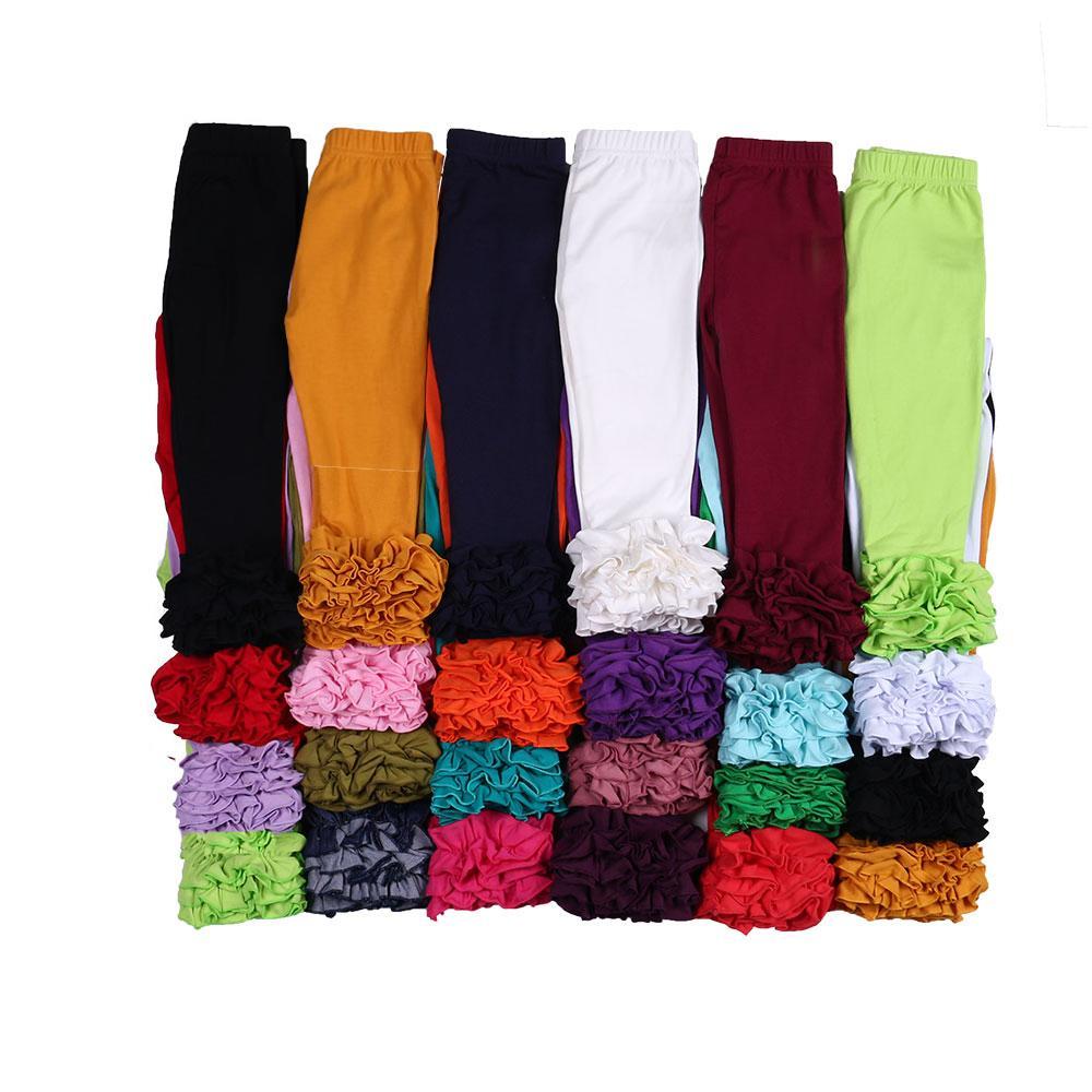 MUDBALA Boutique Bebés Meninas Sólidos Cotton Triplo Ruffle gelo Leggings Crianças vestir calças de babados para a criança Meninas Y200704