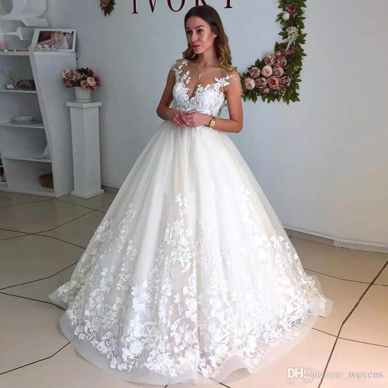 Romantische Sheer Neck Ballkleid Brautkleider Cap Sleeves Lace Appliques Backless Country Brautkleid Plus Size Tüll Brautkleider