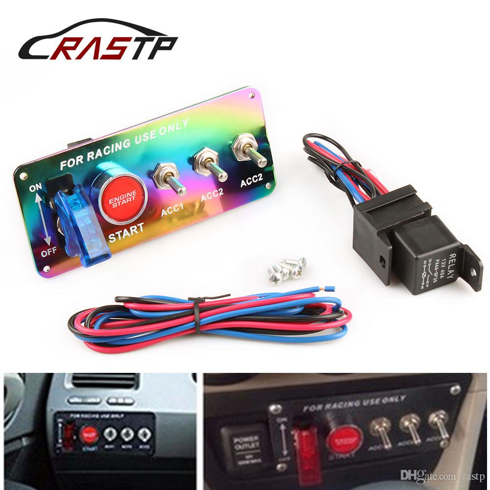 RASTP - Free Shipping Racing 12V Racing Ignition Toggle Switch Panel Engine Start Push Button Neo Chrome RS-BOV004