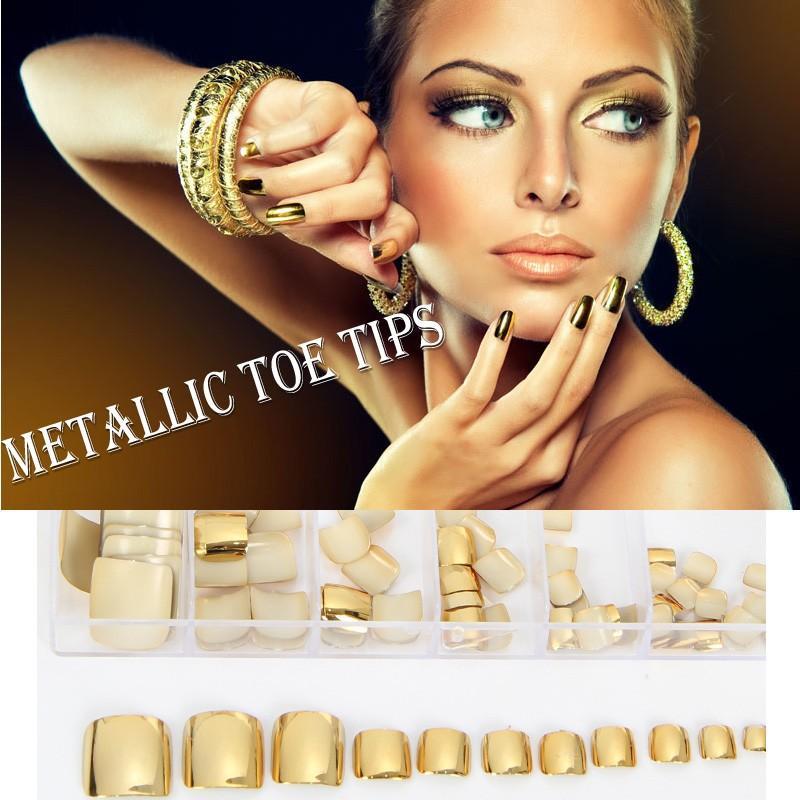 70pcs Golden Metallic Toe Nail Tips Full Cover UV Gel Fasle Nails Shiny Acrylic Artificial Toe Tips Pedicure Nail Decoration