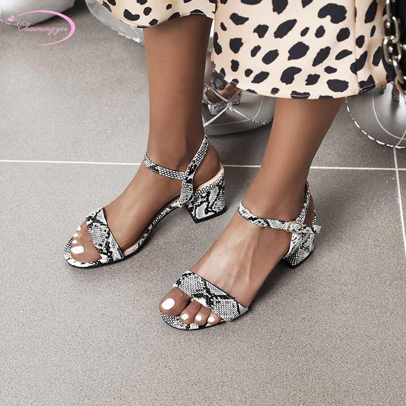 Nightclub style cool summer sandals serpentine color matching belt buckle beige apricot black chunky high heel women's shoes