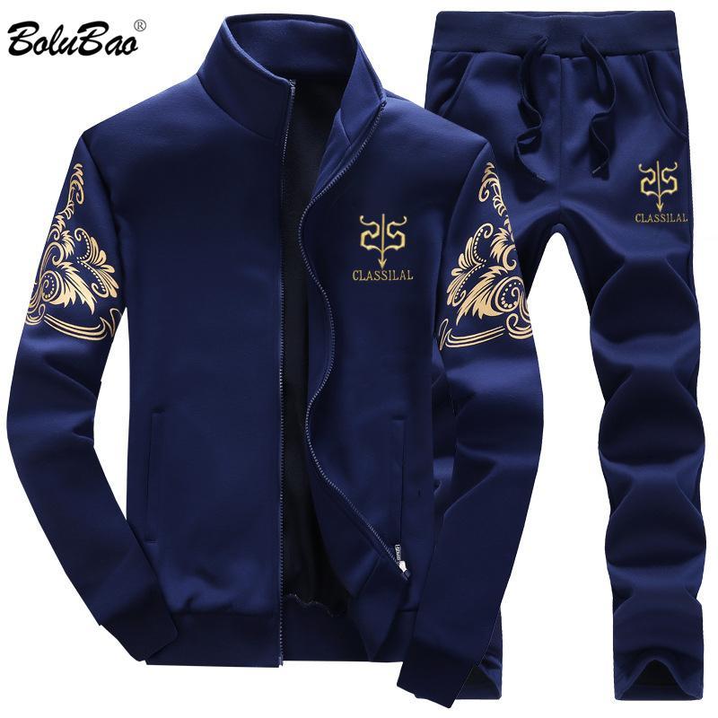 BOLUBAO Men Set 2шт молния осень мужской повседневный спортивный костюм мужские наборы мужская толстовка куртка + брюки 2 шт набор мужской T200601