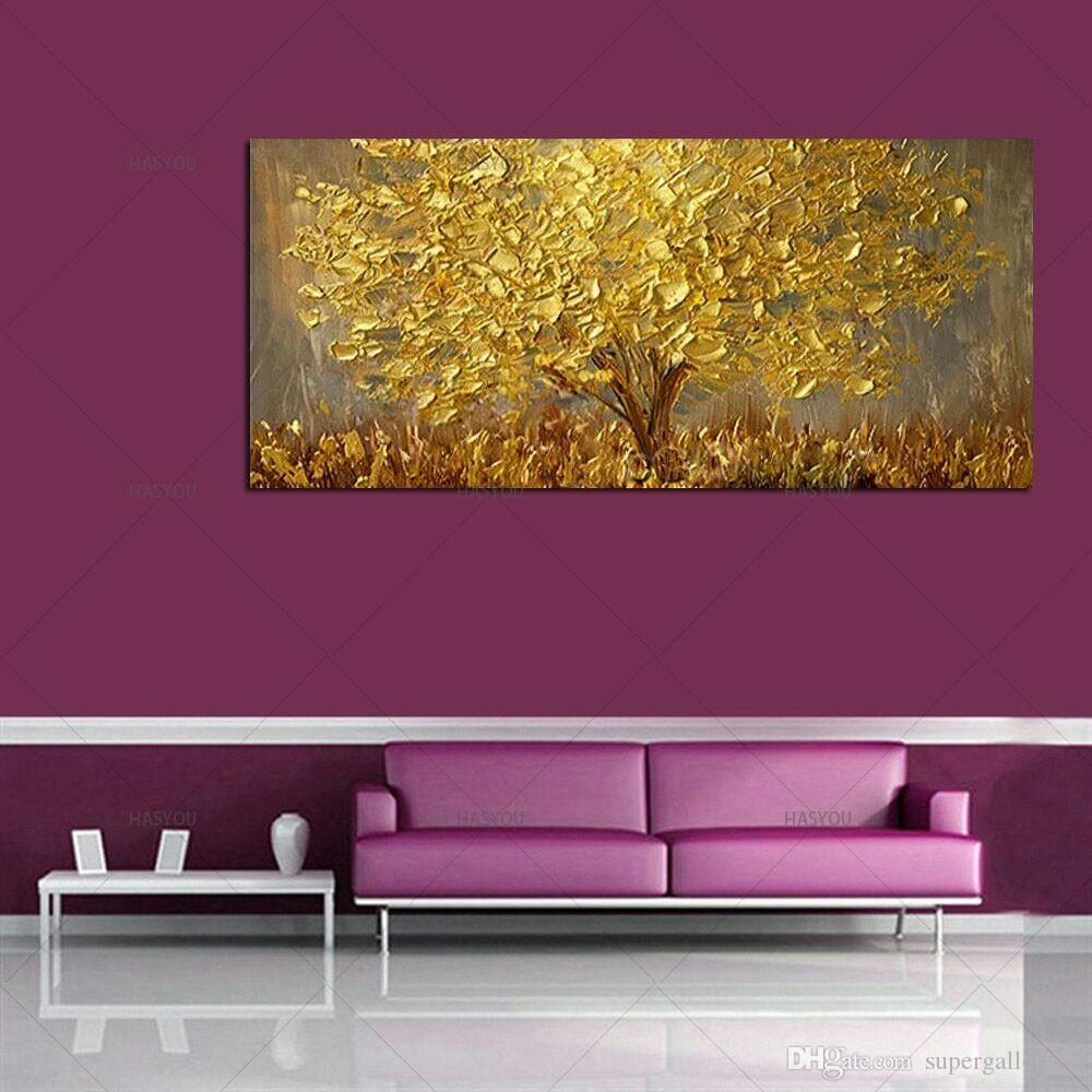 Ручная роспись Нож Золотое Дерево Картина Маслом На Холсте Большая Палитра Золотисто-Желтые Картины Современные Абстрактные Стены Искусства Картины Home Decor