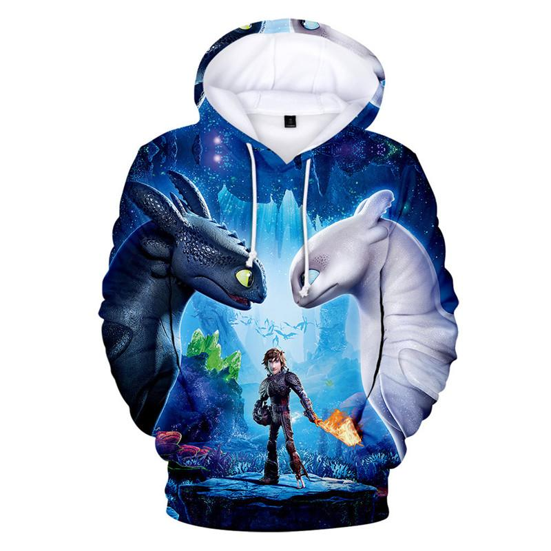 Frühling und Herbst Männer Komfortabler Druck 3D Cartoon Drachenzähmen Langarm-Kapuzen Hoodies Sweatshirts Zähmen
