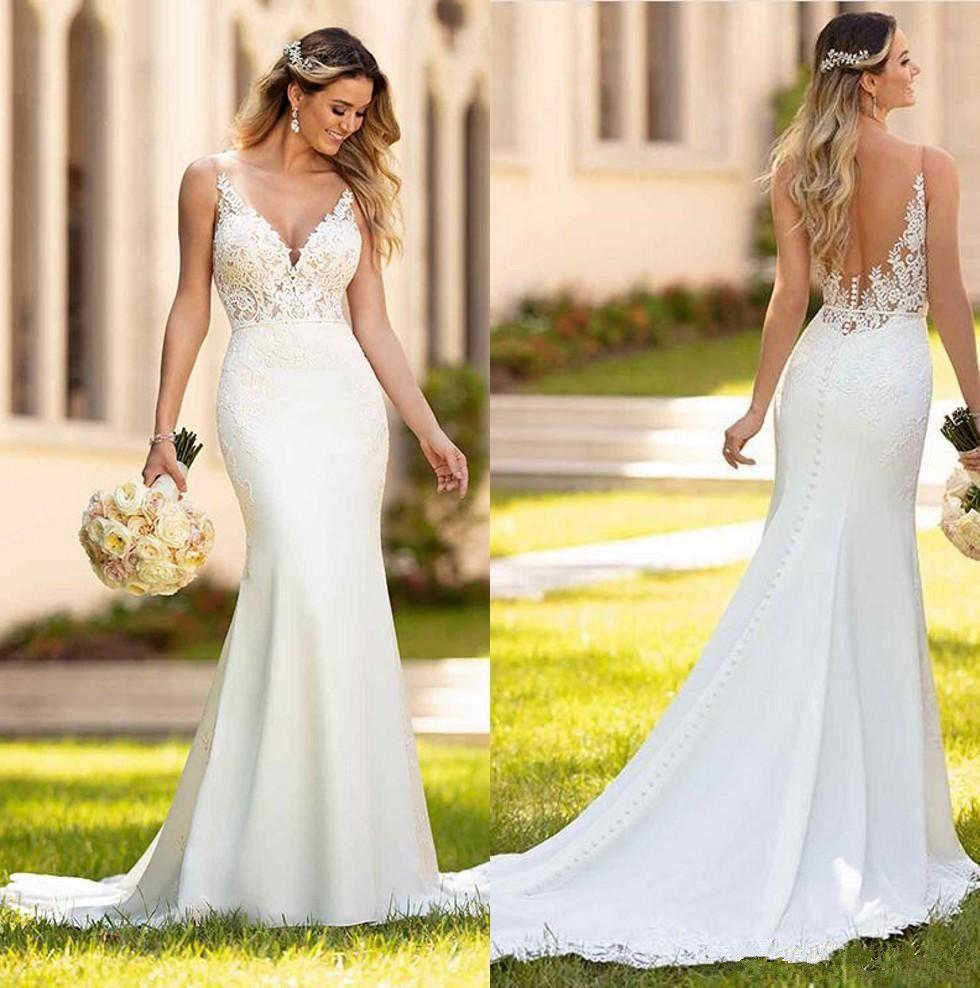 Dentelle Mermaid Boho Robes De Mariée 2020 V Tulle Cou Tulle Appliques Balayer Train Dossier Robes de mariée Bridal Vestidos de Noiva avec bouton