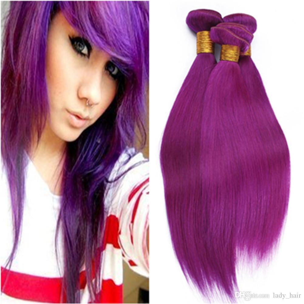 Purple Colored Brazilian Virgin Human Hair Weaves Silky Straight Pure Purple Virgin Remy Hair Bundles Deals 4Pcs Lot Double Wefted