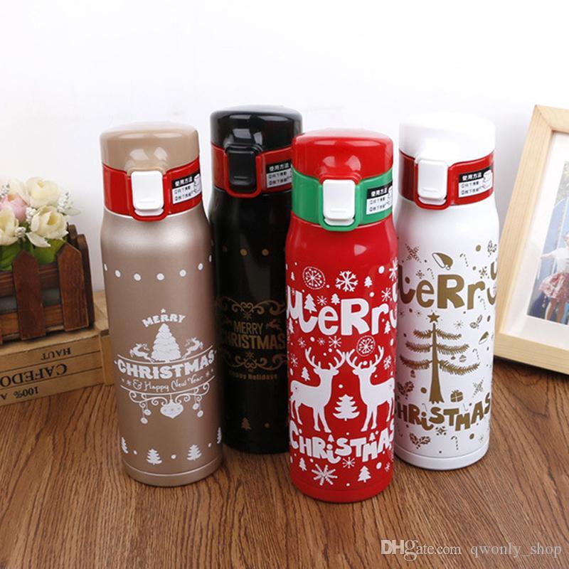 زجاجة ماء 500ML عيد الميلاد عيد الميلاد مزدوجة الجدار الطباعة الفولاذ المقاوم للصدأ بهلوان فراغ الرياضة السفر الترمس قارورة فنجان القهوة القدح