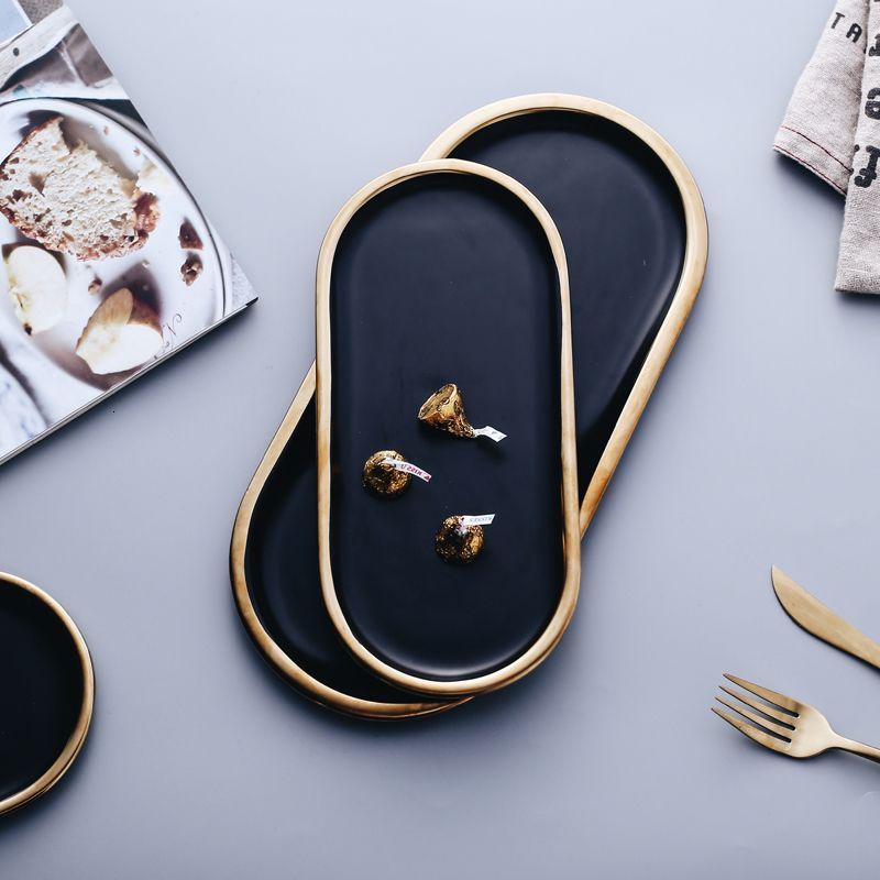 Siyah Ve Altın Seramik Plakalar Yemekler Porselen Yemek Tatlı Tabağı Steak Bulaşık Takı Tepsileri Yüzük Bilezikler Tutucu T191014 Strokes