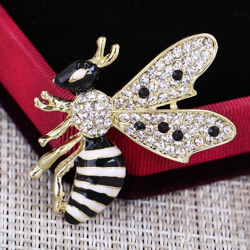 Frauen Strass Fliegen Biene Brosche Insekt Biene Brosche Anzug Revers Pin Geschenk Für Liebe Modeschmuck Epacket Versand