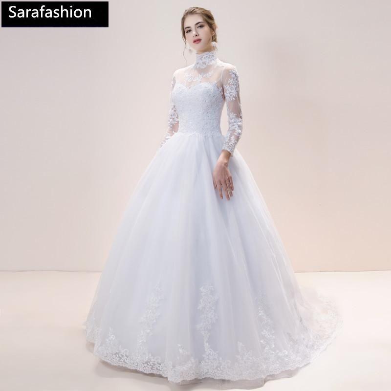 Vintage High Neck Tulle Wedding Dresses With Lace Appliques 2019 Long Sleeves Wedding Gowns Vestido De Novia