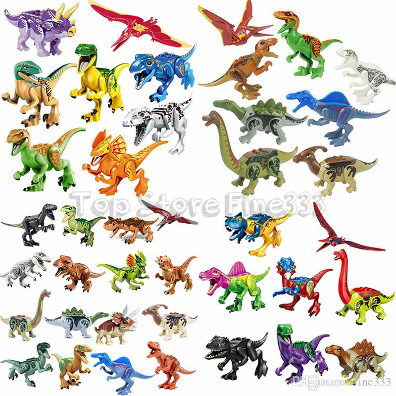 Jurassiic Park World Dinosaur Building Blocks 48 Designes Kopf Block Toys Jurassic Dinosaur Park Bricks Doll Toys Best ABS 공룡 Minifig