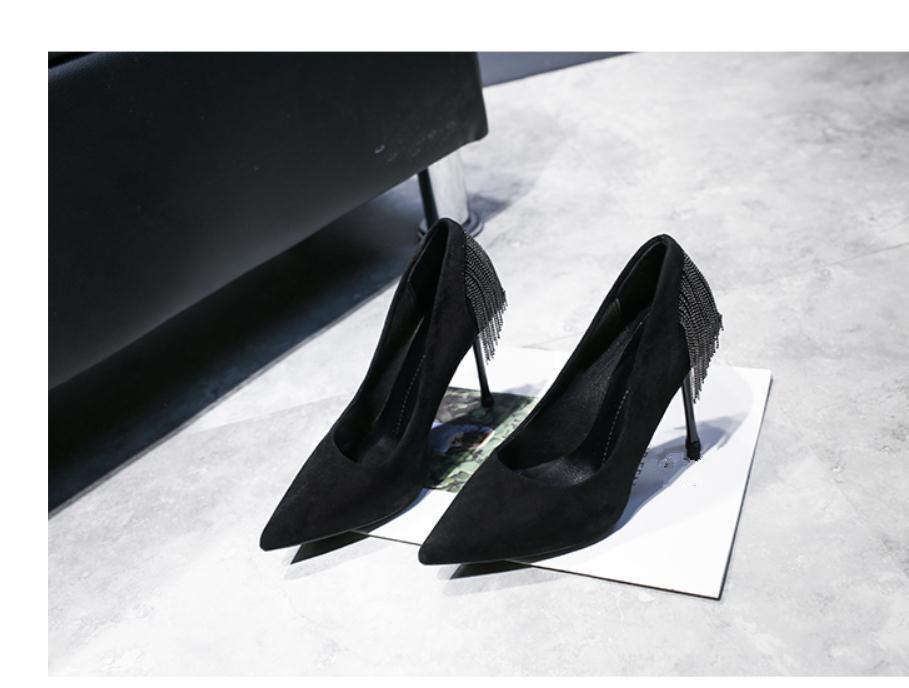 2020 весна и осень с новым стилем моды высокий каблук тонкий каблук заостренный конец замши Женская обувь@MQWBH722