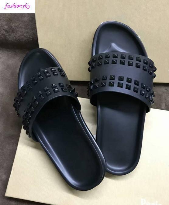 scatola del ribattino dei punti piatto slippersWith uomo scarpe Top Donna Willow lusso pantofole Nail Designer Red Bottoms