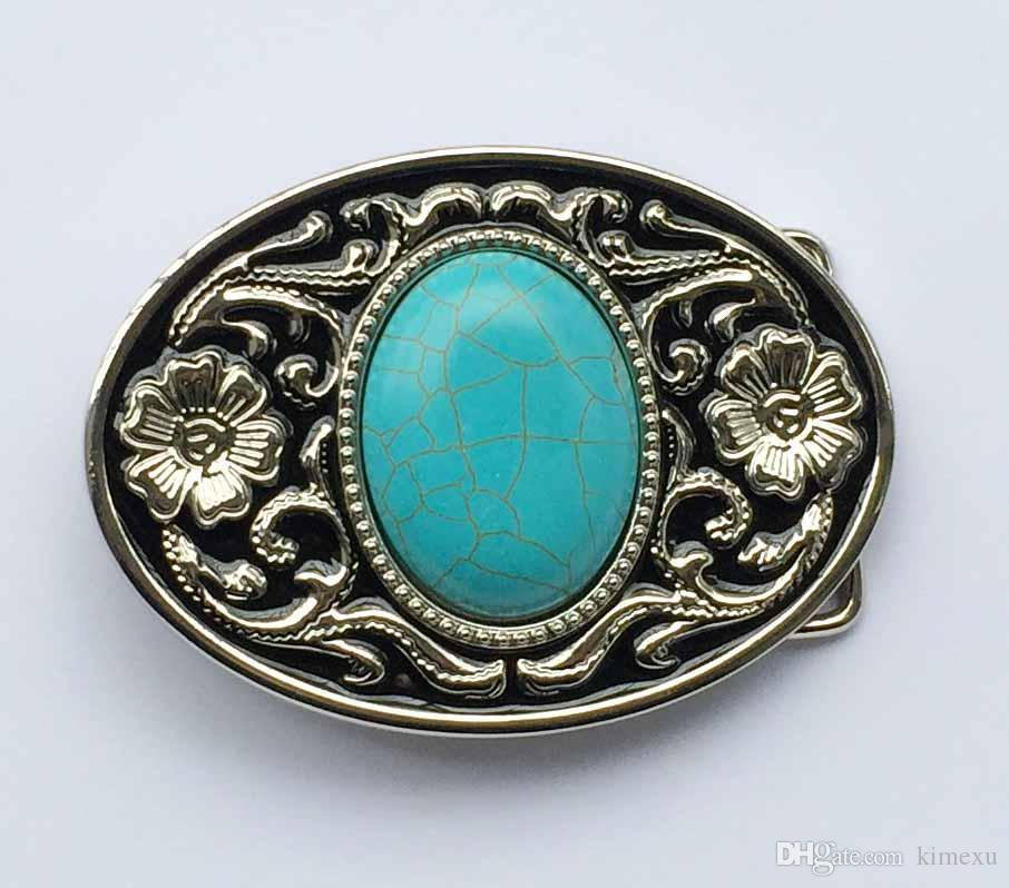 Nouveau Turquoise Couleur Boucle de ceinture couleur or métal Cowboy Western Femme Homme