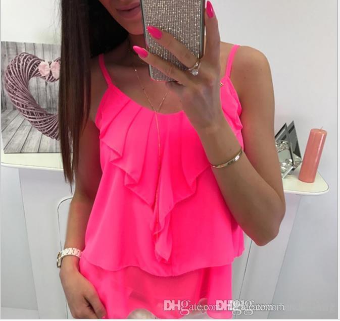 Frauen-Sommer-reizvolle Chiffon- Hemd Solid Color Tiered Lotusblatt-Fee Weibliche Kleidung V-Ausschnitt Sleeveless beiläufige Kleidung