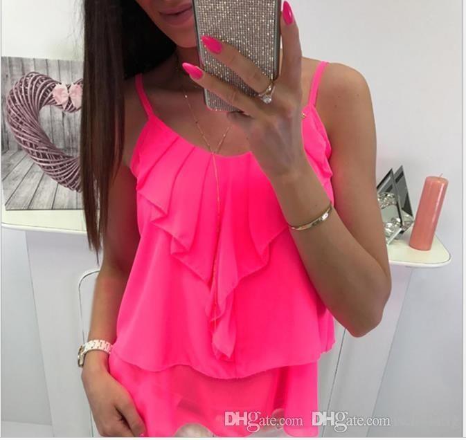 Gasa atractiva de las mujeres del verano camisa de color sólido con gradas sin mangas de hoja de loto hada hembra Ropa V cuello ropa ocasional