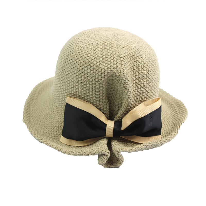 chapéu de balde de algodão verão bowtie folderable chapéu de sol sólida