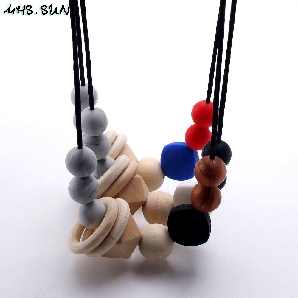 мягкие пищевые силиконовые бусины ожерелье уход прорезывания зубов жевать прорезыватель для матери и ребенка держатель ювелирных изделий игрушка в подарок