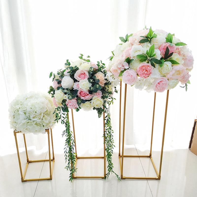2020 Vases Gold White Flower Stand Metal Road Lead Wedding